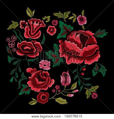 Embroidery traditional folk pattern with red roses. Vector embroidered floral bouquet sketch with flowers for clothing design.