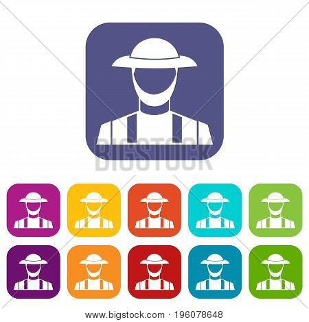 Farmer icons set vector illustration in flat style in colors red, blue, green, and other