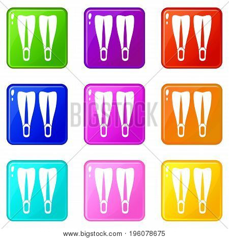 Flippers icons of 9 color set isolated vector illustration