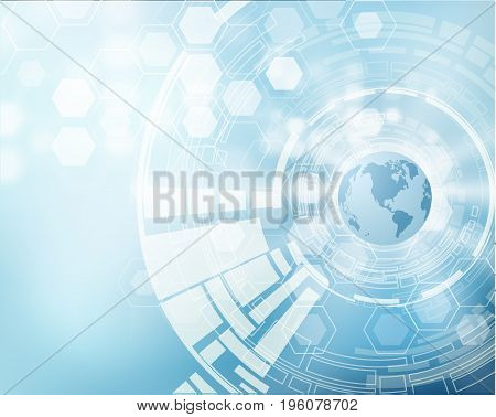 Abstract earth globe vector background with shiny hexagons.