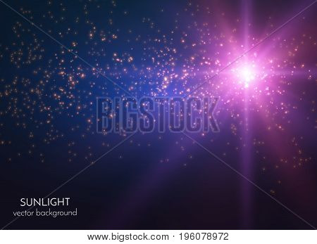Festive lights star burst with shiny particles vector background. EPS10