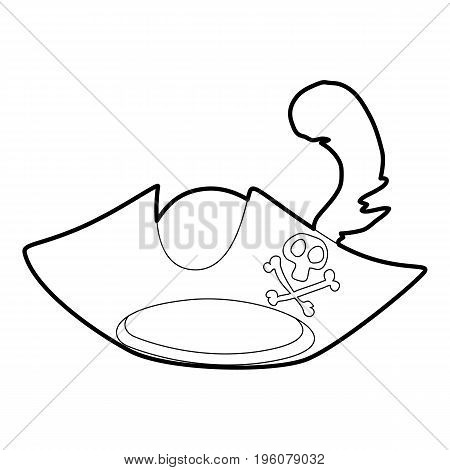 Pirate hat icon in outline style isolated on white vector illustration