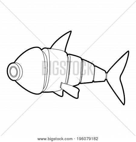 Robot fish icon in outline style isolated on white vector illustration