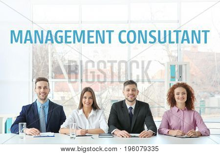 Concept of management consultant. People on meeting in office