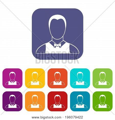 Waiter icons set vector illustration in flat style in colors red, blue, green, and other