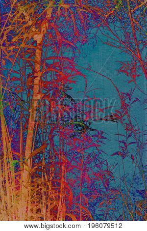 Artistic natural dark background with plants and bamboo trees