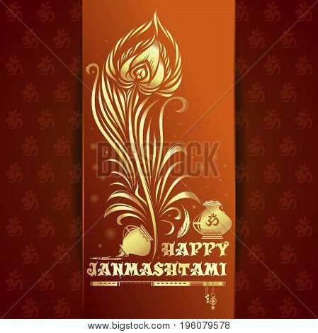 Happy Krishna Janmashtami gold logo icon. Greeting card for annual celebration of the birth of the Hindu deity Krishna, the eighth avatar of Vishnu. Vector illustration