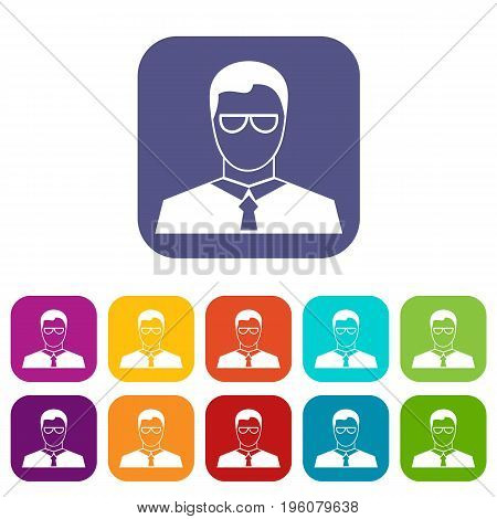 Teacher icons set vector illustration in flat style in colors red, blue, green, and other