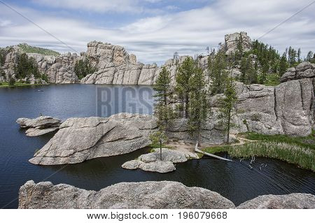 Rocky landscape of Sylvan Lake near Custer South Dakota.