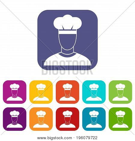 Cook icons set vector illustration in flat style in colors red, blue, green, and other
