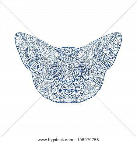 Illustration of a Fennec Fox Head front view done in hand drawing sketch Mandala style.