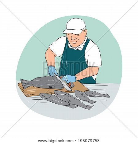 Cartoon illustration showing a Fishmonger Cutting Fish with knife viewed from front set inside oval shape.