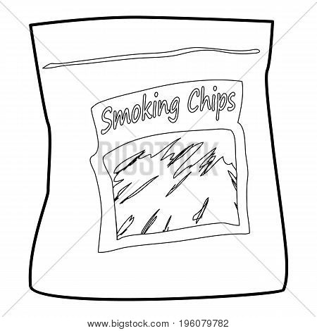 Smoking chips icon in outline style isolated on white vector illustration