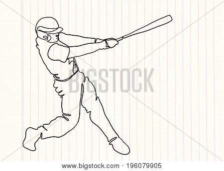 Hand Drawn Illustration Of Baseball Players,continuous Line Drawing Or One Line Drawing Of Baseball