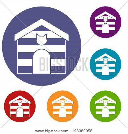 Cat house icons set in flat circle red, blue and green color for web