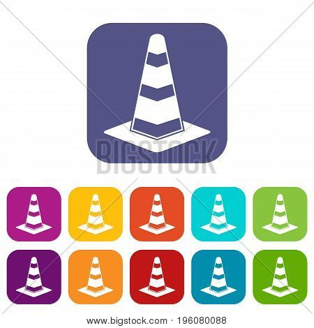 Traffic cone icons set vector illustration in flat style in colors red, blue, green, and other