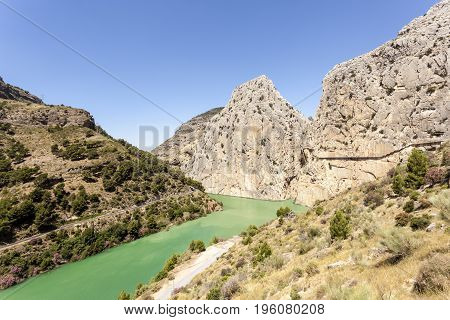 Water reservoir for the hydroelectric plant El Chorro near town Alora. Province of Malaga Spain