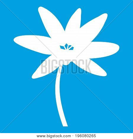 Tropical palm tree icon white isolated on blue background vector illustration