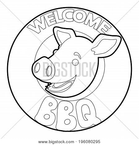 Welcome invitation to barbecue icon in outline style isolated on white vector illustration