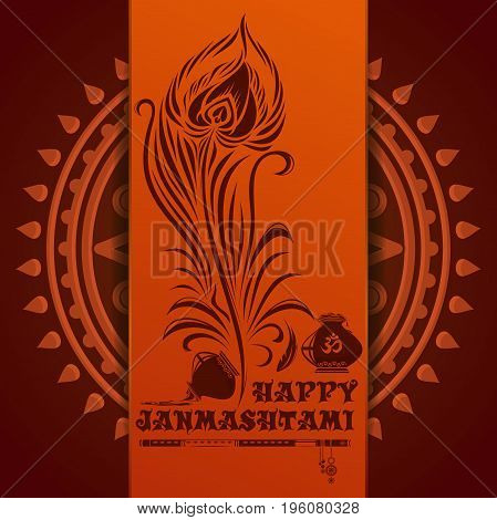 Happy Krishna Janmashtami. Greeting card for annual celebration of the birth of the Hindu deity Krishna. Vector illustration