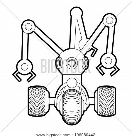 Robot with three tentacle icon in outline style isolated on white vector illustration