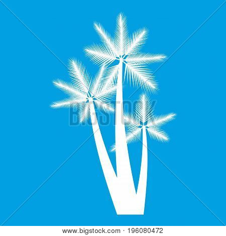 Three tropical palm trees icon white isolated on blue background vector illustration