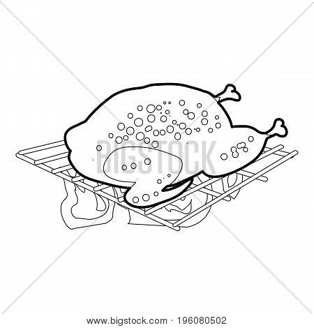 Chiken cooked on a barbecue icon in outline style isolated on white vector illustration