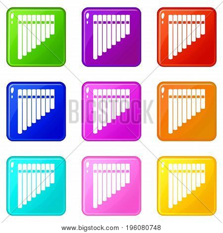 Pan flute icons of 9 color set isolated vector illustration