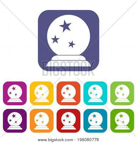 Magic ball icons set vector illustration in flat style in colors red, blue, green, and other