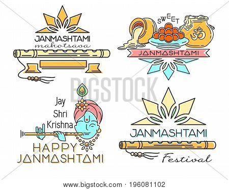 Line logo icons set for Krishna Janmashtami. Hindu festival. Celebration of the birth of Krishna. Vector illustration