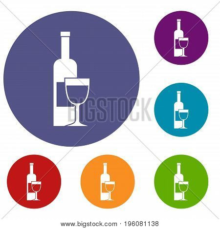 Wine bottle and glass icons set in flat circle red, blue and green color for web