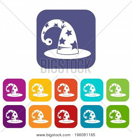 Wizards hat icons set vector illustration in flat style in colors red, blue, green, and other