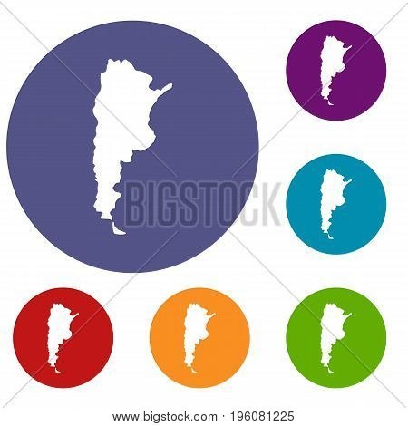 Map of Argentina icons set in flat circle red, blue and green color for web