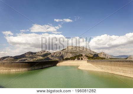 Water reservoir for the hydroelectric plant El Chorro near the town Alora. Province of Malaga Spain