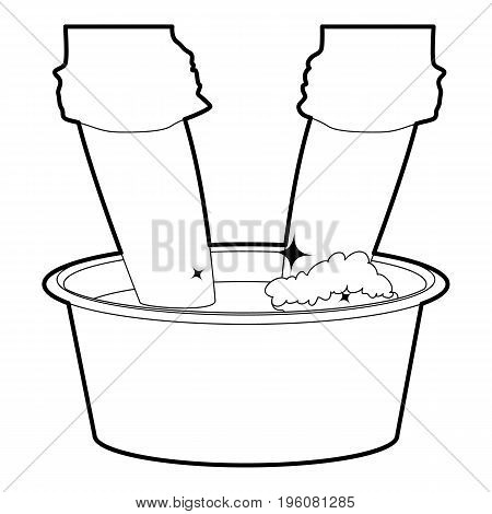 Washing in the basin icon in outline style isolated on white vector illustration