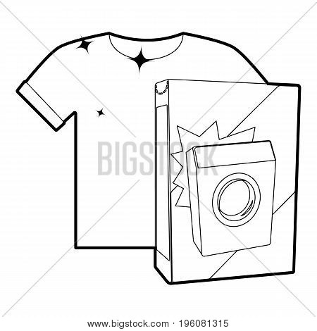 Washing powder for colored things icon in outline style isolated on white vector illustration