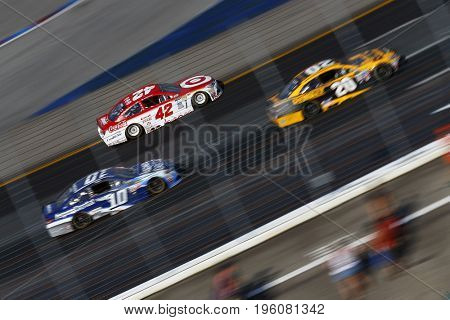 July 16, 2017 - Loudon, NH, USA: Kyle Larson (42) brings his car through the turns during the Overton's 301 at New Hampshire Motor Speedway in Loudon, NH.