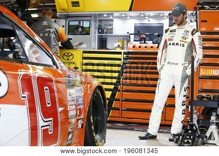 July 15, 2017 - Loudon, NH, USA: Daniel Suarez (19)  hangs out in the garage during practice for the Overton's 301 at New Hampshire Motor Speedway in Loudon, NH.