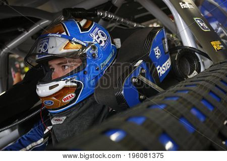 July 14, 2017 - Loudon, NH, USA: Ricky Stenhouse Jr. (17)  straps into his car to practice for the Overton's 301 at New Hampshire Motor Speedway in Loudon, NH.