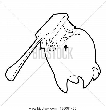 Toothbrush cleans tooth icon in outline style isolated on white vector illustration