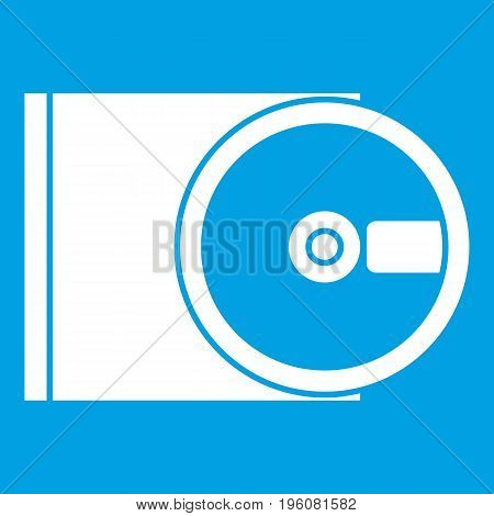 DVD drive open icon white isolated on blue background vector illustration