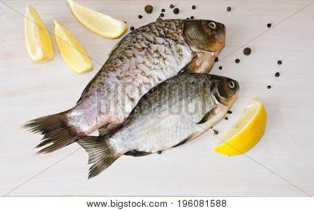 river fish with fresh lemon wedges on white background