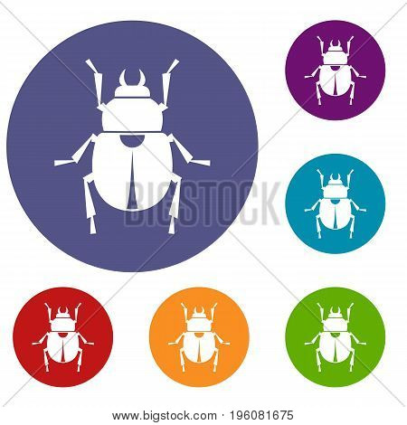 Scarab icons set in flat circle red, blue and green color for web