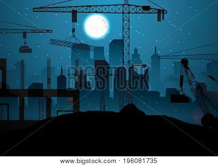 Vector illustration of Construction site with cranes on night sky and moon