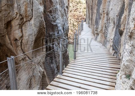 Hiking trail 'El Caminito del Rey' (King's Little Path) former world's most dangerous footpath wich was reopened in May 2015. Ardales Malaga province Spain
