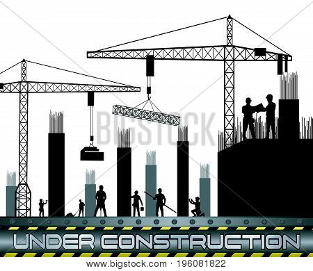 Vector illustration of Construction workers with cranes