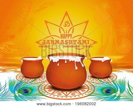 Colorful festive background for Krishna Janmashtami. Happy Janmashtami. Traditional festive symbols of the Hindu festival. Pots of yoghurt, peacock feathers and bansuri. Vector illustration