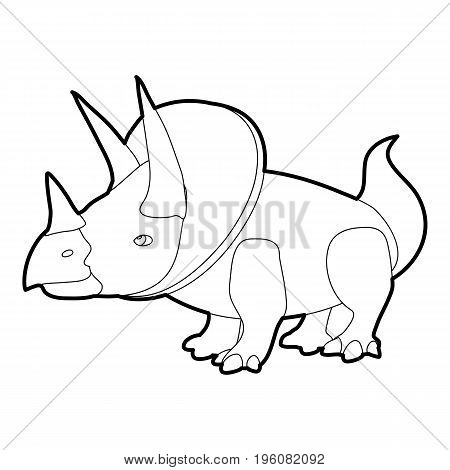 Triceratops icon in outline style isolated on white vector illustration