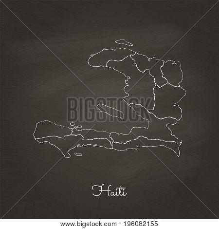 Haiti Region Map: Hand Drawn With White Chalk On School Blackboard Texture. Detailed Map Of Haiti Re