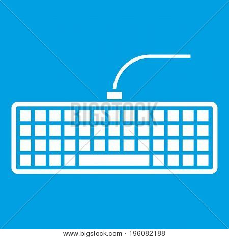 Black computer keyboard icon white isolated on blue background vector illustration